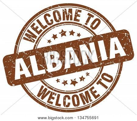 welcome to Albania stamp. welcome to Albania.