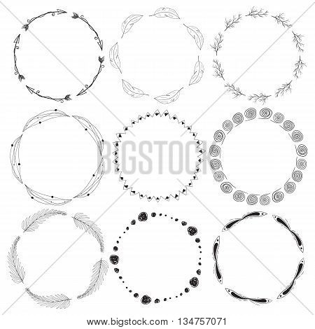 Hand-drawn hipster nine round black frames with twigs, feathers, circles, lines, leaves and arrows