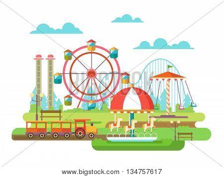 Amusement park. Riding on the carousel, family holidays. Flat vector illustration
