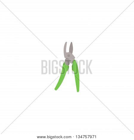 Image of secateurs. Illustration of garden pruner, loppers. Garden shears thin flat icon.