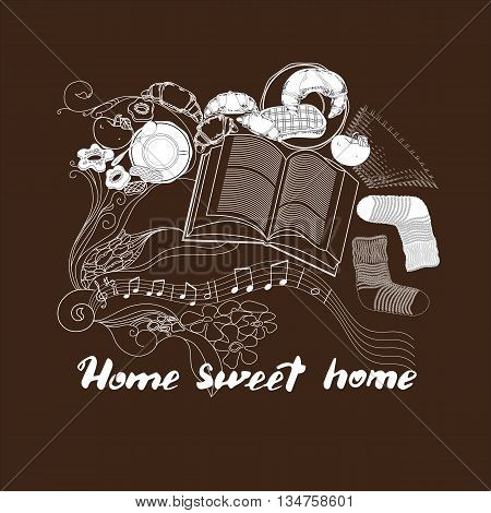 Hand drawn vector lettering. Calligraphic quote printable phrase Home sweet home on brown background with socks, book, cookies, croissant, coffee, notes, apple.