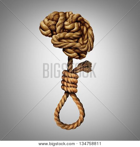 Suicidal thoughts mental health disorder concept and psychology of a distressed and suffering mind as a group of tangled ropes shaped as a human brain and suicide noose in a 3D illustration style.