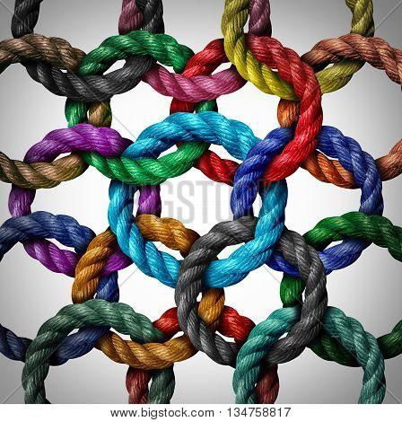 Central networking and network connection business concept as a group of diverse circle ropes connected to a central rope loop as a metaphor for connectivity and linking to a centralized support structure in a 3D illustration style.