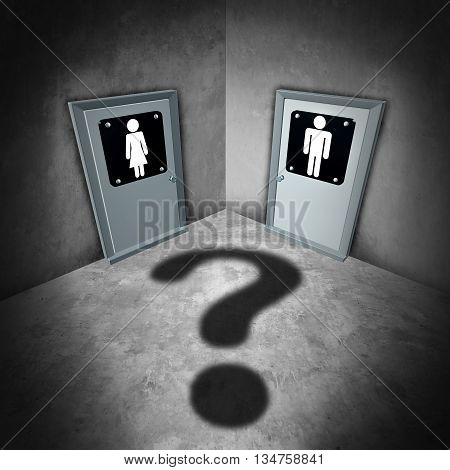 Transgender issues concept and gender identity symbol or sex reassignment surgery idea as a female and male bathroom doors with a question mark shadow as a metaphor for sexual confusion as a 3D illustration.