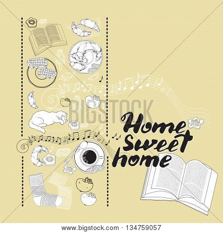 Calligraphic quote printable phrase Home sweet home on light background with socks, book, cat, cookies, croissant, coffee, notes, apple. For housewarming posters, greeting cards, mood board