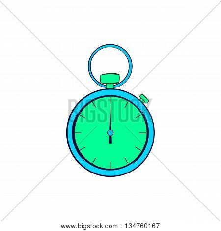 Pocket watch icon in cartoon style on a white background