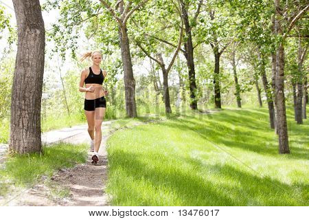 Portrait of woman jogging