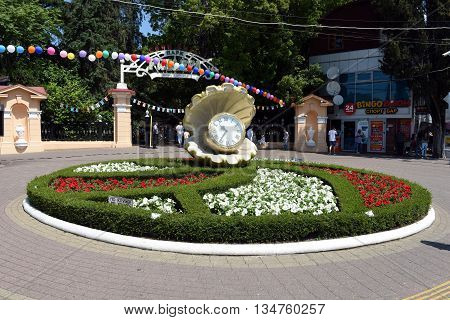 Sochi, Russia, June 1, 2016. A beautiful flower-bed clock at the main entrance to the Park
