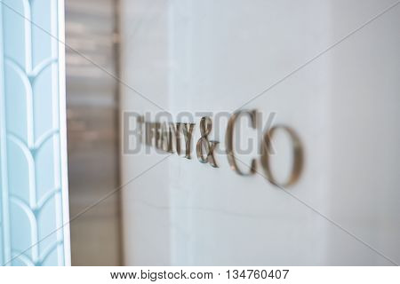 KUALA LUMPUR, MALAYSIA - MAY 09, 2016: close up shot of interior elements at Tiffany store. Tiffany & Company is an American worldwide luxury jewelry and specialty retailer, headquartered in New York