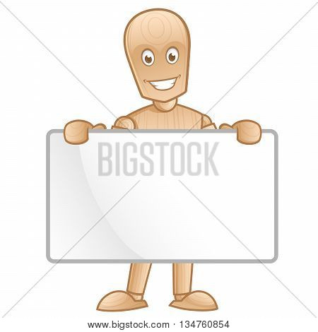 Funny wooden mannequin posing, he has a poster, vector illustration