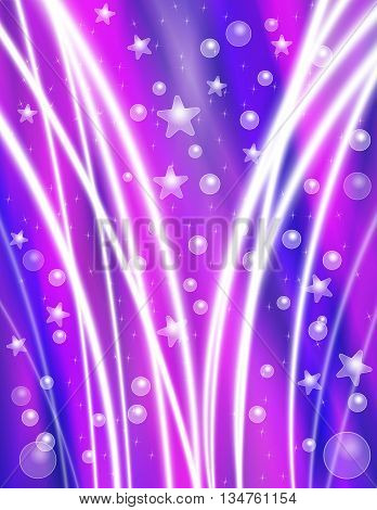 Festive Purple Celebration Background with Stars Bubbles and Light Beams
