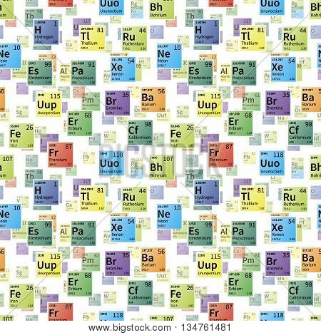 Bright colorful icons of chemical elements on white seamless pattern