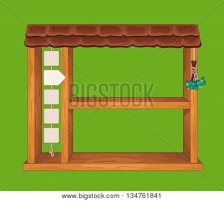 Game wooden shelf window with tile roof and side menu