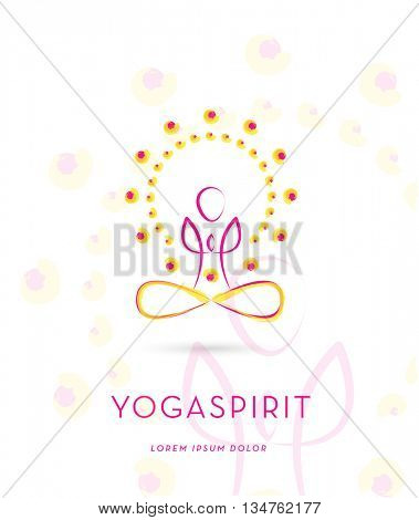 VECTOR YOGA SILHOUETTE IN ENERGY CIRCLE , LOGO / ICON