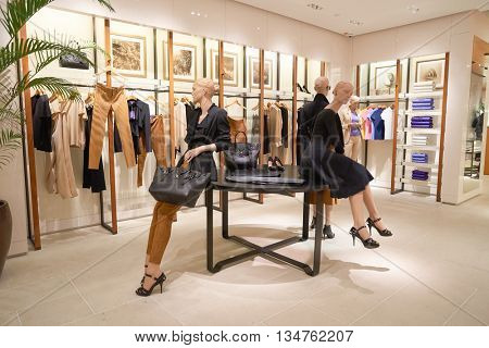 KUALA LUMPUR, MALAYSIA - MAY 09, 2016: inside of Ralph Lauren store at Suria KLCC. Suria KLCC is a shopping mall is located in Kuala Lumpur, in the vicinity of the landmark the Petronas Towers.