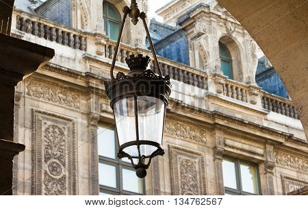 The beautiful  vintage Parisian street lamp, France.