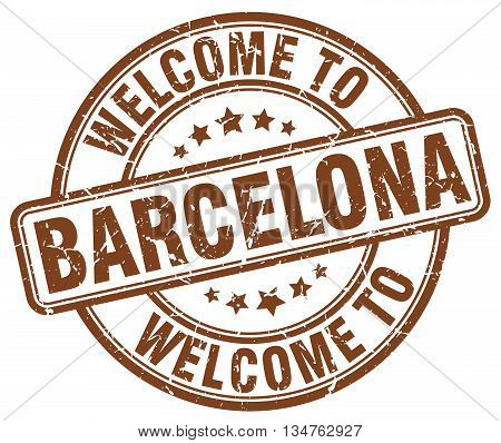 welcome to Barcelona stamp. welcome to Barcelona.