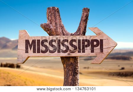 Mississippi wooden sign with a desert background
