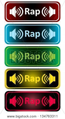 Clipart with color loudspeakers and an inscription rap
