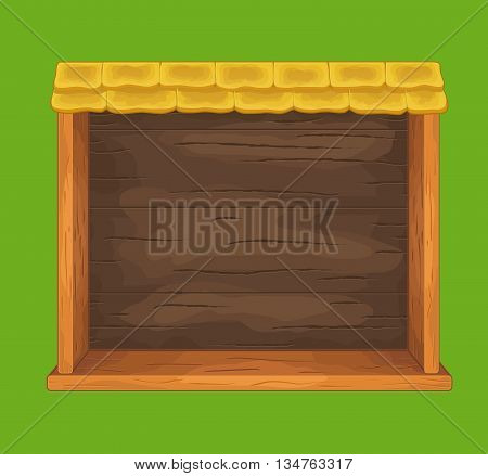Game wooden shelf window with tile roof