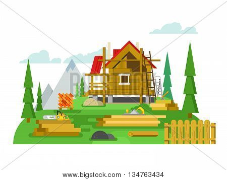 Cottage construction. Timber and tool, material wood, building house, flat vector illustration