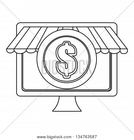 electronic device sreen with commerce icon on the screen over isolated background, vector illustration, commerce concept