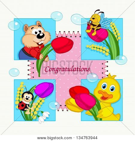 greeting card with congratulation - vector illustration, eps
