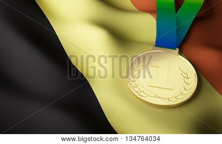 Belgium flag and gold medal. 3d rendering.