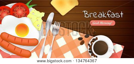 Breakfast time illustration with fried egg sausages tomatoes cheese fork and knife toast cup of coffee red checkered tablecloth on wooden table. Wooden background. Vector illustration