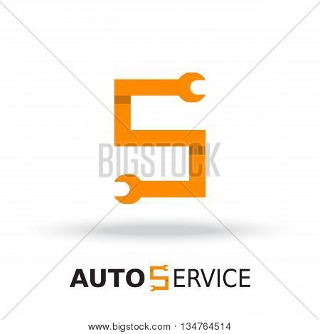 Logo template, layout for auto service, repair service, system administrator, car service. Wrench orange sign, origami, overlapping style. Vector illustration.