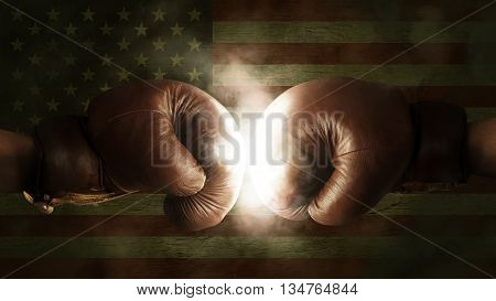 Boxing Gloves With The Flag Of The Usa