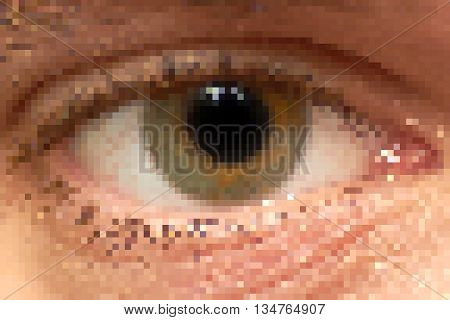 Rough pixelated human right eye with light reflections.