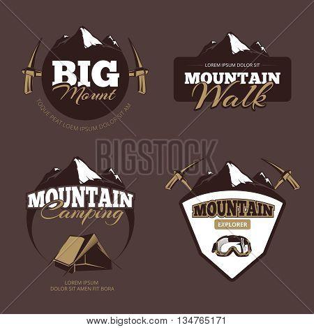 Outdoor mountain camping, alpinism vector emblems, labels, badges, logos set.