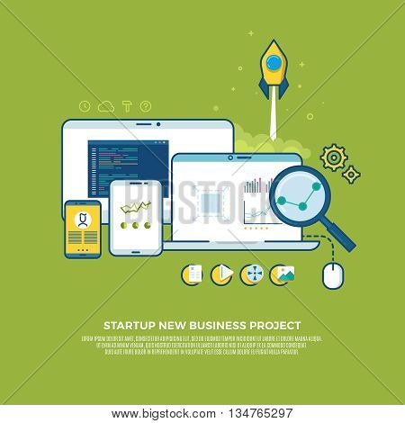 Management, strategy, digital marketing, start up vector business concept background. Marketing business start up, strategy start up, innovation bussines start up illustration