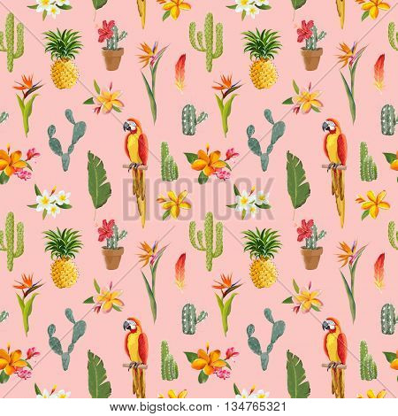 Tropical Background. Parrot Bird, Cactus, Tropical Flowers Background. Seamless Pattern. Vector