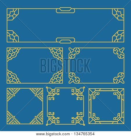 Korean, chinese, japanese vintage frames, borders, pattern brush. Asia style vector set. Frame border pattern brush, border frame decoration, asian border frame illlustration