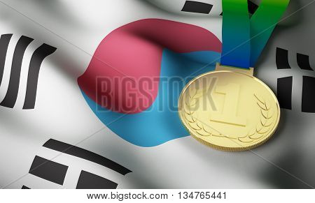 South Korea flag and gold medal. 3d rendering.