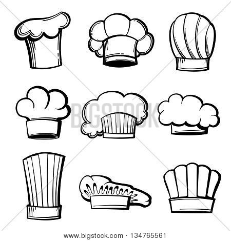 Outline chef hats and toques vector set. Chef hat, restaurant chef cap, uniform chef, kitchen toque illustration