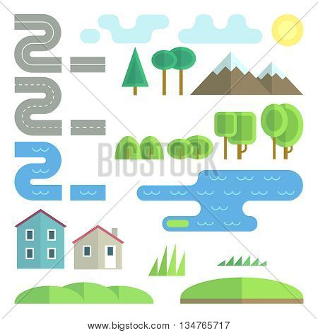 Landscape flat vector elements. Landscape tree,  landscape plant, environment landscape element bush illustration