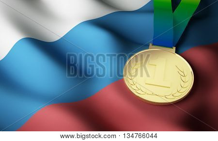 Russia flag and gold medal. 3d rendering.