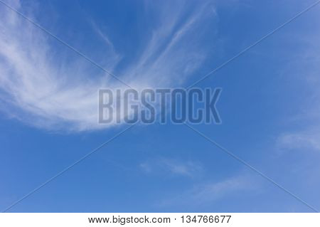 Wind Blowing Cloud On Clear Blue Sky Background