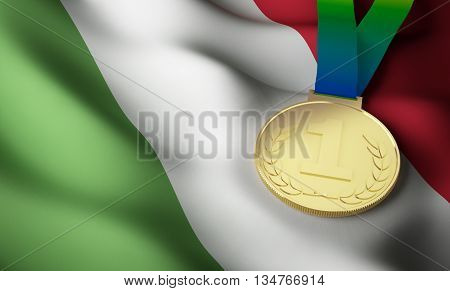 Italian flag and gold medal. 3d rendering.
