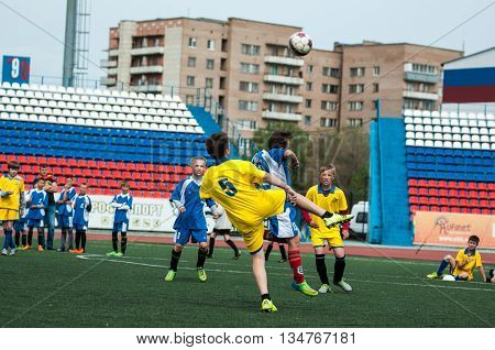 Orenburg, Russia - 1 June 2016: The Boys Play Football