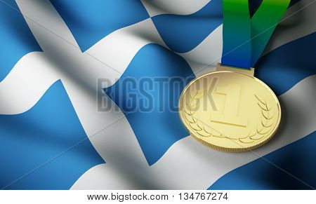 Greece flag and gold medal. 3d rendering.