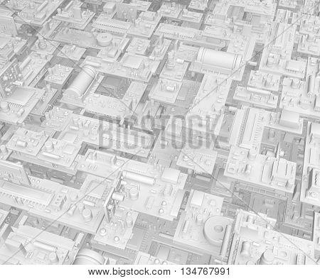 Electronic circuit white elements background horizontal 3d illustration