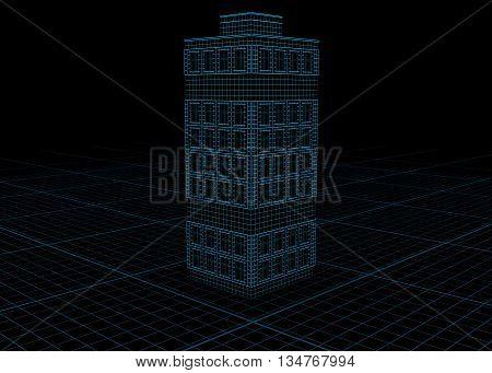 Building blueprint design model over black 3d illustration horizontal