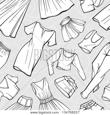 Vector women clothes black and white seamless pattern. Dresses, skirts, jeans, shorts, t-shirts