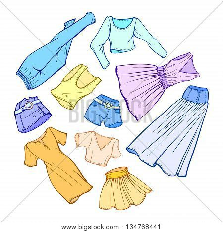 Vector fashion set of woman's clothes: dresses, skirts, jeans, shorts, t-shirts