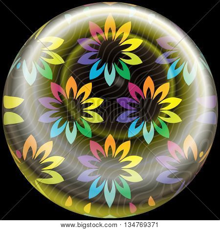 Glossy Button With Colorful Embellishment