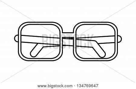squared frame black simple glasses vector illustration isolated over white